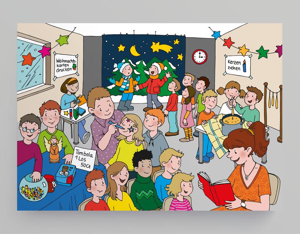 Weihnachtsfeier Cartoon.Raabe Wimmelbild Weihnachtsfeier Grafikdesign Bettina Weyland
